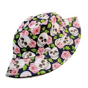 Black Floral Skull Festival 90's Bucket Hat Pink